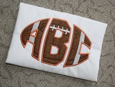 Football Monogram Font Set Applique Embroidery Designs