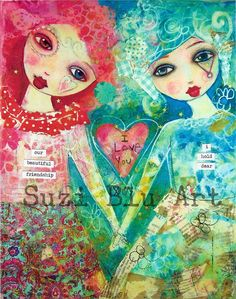 Suzi Blu Our Beautiful Friendship Mixed Media Giclee Print by Suzi Blu
