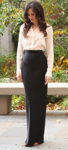 long skirt + simple white blouse