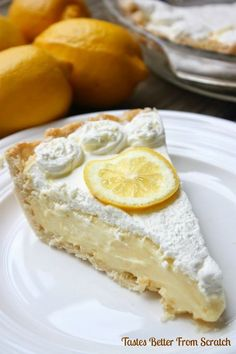 Recipe For Lemon Sour Cream Pie - Perfect level of lemon tartness combined with the perfect level of creaminess. This pie is a new favorite!