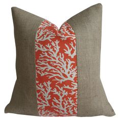 Burlap indoor/outdoor pillow with a coral motif.  Product: PillowConstruction Material: BurlapColor: ...