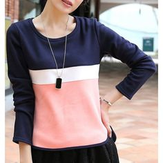 Color Block Long Sleeve Round Collar Slit Side Design T-Shirt For Women