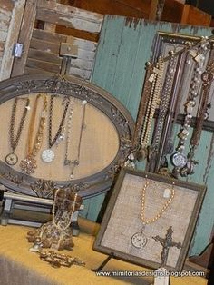 Add burlap to ornate vintage picture frames to display jewelry for cottage style home decor or arts and crafts booth or retail store; Upcycle, recycle, salvage, diy, repurpose!  For ideas and goods shop at Estate ReSale & ReDesign, Bonita Springs, FL