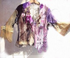 OFF Lovely Unique JACKET Hippi Boho Gipsy Wilde Very Feminine Violet Pink Yellow Brown Lavender. $240.00, via Etsy.