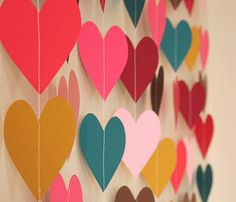 DIY falling heart streamers-- would make me happy if these were in my house any time of year :)