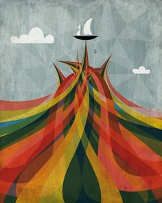 Print by Andrew Bannecker. #Ocean #Colors #Waves #Boats