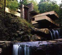 Fallingwater - house over waterfall, Frank Lloyd Wright