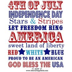 4th of July Word Art Printable From @TheCraftingChicks  #4thofJuly #FREE #Printables