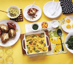 baked potatoes, big family dinner ideas, side, food, bake potato, potato bar, recip, makeahead bake, parti