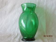 "Vintage Depression Glass Green Footed Flower Vase 6 1 2"" Tall 2 3 4"" Diameter | eBay  $4.99"
