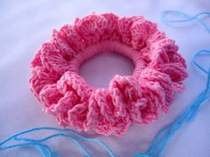 Hair scrunchie - with a simple elastic & a crochet hook.