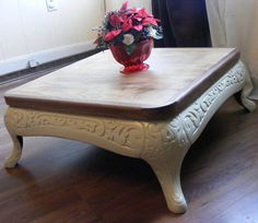 Repurposed Antique Stove Base Coffee Table by UnadillaWoodworks