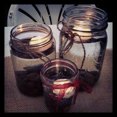 Mason jar centerpiece.