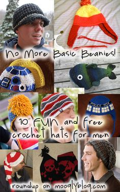 Move beyond the basic beanie with these 10 free crochet hat patterns for men! mooglyblog.com