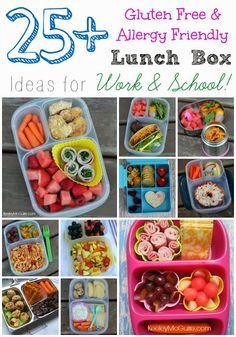 OVER 25 Gluten Free & Allergy Friendly Lunch Box Ideas lunch idea, box idea, kid lunches, lunch boxes, lunch recipes, allergi friend, gluten free lunches, gluten free kids, friend lunch