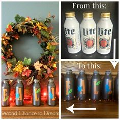 Second Chance to Dream:  Fall Decor with Upcycled Beer Cans  Who knew you could take empty beer cans and create such a beautiful fall display?? #falldecor #falldiy
