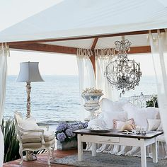 crystal chandeliers, living rooms, outdoor rooms, dream, the ocean, outdoor space, coastal living, beach, romantic rooms