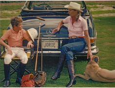 Scanned photo of Jorie Butler Kent instructing her son in polo in Palm Beach, Fl. by Slim Aarons, 1982.