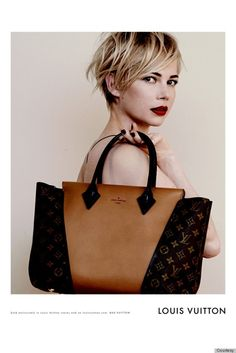 short hair, michael kors, peter lindbergh, red lips, michelle williams, louis vuitton handbags, lv bags, louis vuitton bags, lv handbags