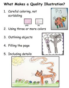 """DOWNLOAD FREE CHART! Laminated copies of this chart are placed around the room.  We give children a visual reminder of what  quality illustration looks like. From """"Kindergarten Writing and the Common Core:Joyful Pathways to Accelerated Literacy"""" by Nellie Edge  http://www.nellieedge.com/members/resources/What-Makes-Quality-Illustration.pdf"""