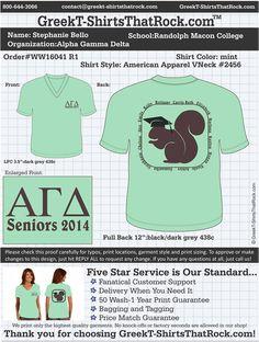 Our AGD Senior shirts! Theta Zeta, Randolph-Macon College <3