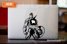 """Captain America - LIMITED EDITION macbook decal / sticker ( for 11"""" 13"""" 15"""" 17""""  or any Laptop) K012. $12.80, via Etsy."""