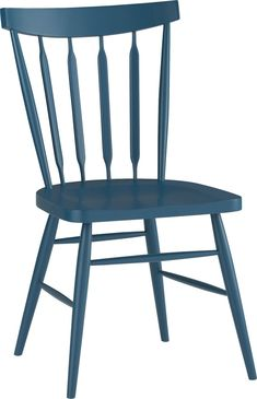 Chairs for the dining room. Love this peacock blue. They have gray, as well. Decisions. Willa Peacock Side Chair  | Crate and Barrel