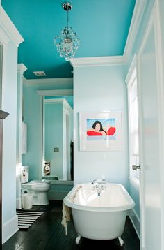 White walls and colored ceilings!