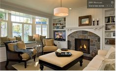 living room, stone fireplace