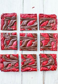 Red Velvet Chocolate-Swirled Brownie Bars {from scratch, not cake mix} - These easy bars are topped with an abundance of chocolate.