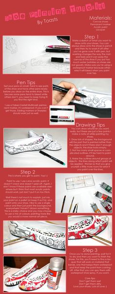 SHOE PAINTING! I'm not big on the pattern, but drawing the design first is a great idea! Less messing up...