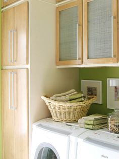 Laundry room. I love the linen texture on the glass doors - looks great!