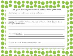 This sheet is great for practicing the reciprocal teaching strategies: summarize, clarify, question, and predict.  When I was a literacy specialist...