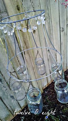 Mason Jar Chandelier - twelveOeight - #mason jar #chandelier #garden #outdoor chandelier #diy #rustic chandelier #farmhouse #country