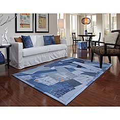 @Overstock.com.com.com.com.com - Denim rules in the fun and playful Beaufort rug.  Hand Stitched in India the pattern displays repurposed jeans artfully constructed in felt-backed rugs.  Liven up any room with this durable rug suitable for any age group that enjoys soft worn denim.http://www.overstock.com/Home-Garden/Beaufort-Denim-Blue-Full-Rug-50-x-76/6657900/product.html?CID=214117 $184.49