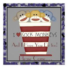 Sock Monkey Birthday Invitation for boys and girls