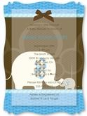 Blue Baby Elephant - Personalized Vellum Overlay Baby Shower Invitations With Squiggle Shape