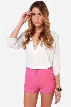 Pink scalloped shorts $42