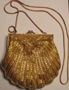 CARLA MARCHI Beaded Clutch or Purse Goldtone Shell _  US $16.99
