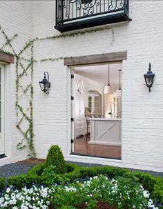 home exteriors, outdoor, ellen grasso, courtyard gardens, bricks, kitchen, homes, white brick, trelli