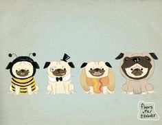 Put a Pug in a Pug 85x11 Free Shipping to US by eelhips on Etsy, $15.00