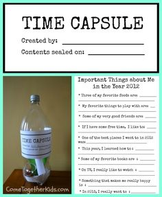 party favors, keepsake boxes, school, kids summer printable, new years eve, time capsule kids, capsul idea, time capsules for kids, year eve