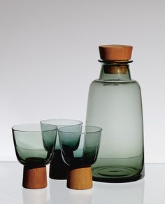 Willy Johansson, Glass, Teak and Cork 'Buster' Drinks Set, 1961.
