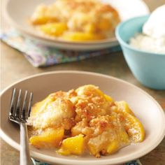Peach Crumble Dessert - Old-fashioned, delicious, easy to make & wonderful served with ice cream.