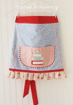 apron cute skirt apron with large pocket, red white and blue