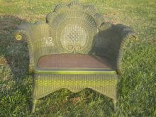 Very Rare Antique Wicker Settee Heywood Brothers and Wakefield Company label