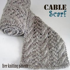 Cable Scarf free knitting pattern.