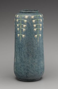 """Rare Grueby Vase - """"Lily of the Valley,"""" the pottery's only extant work decorated with that floral motif."""