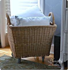 Oversized Wicker Basket with Wheels {Pottery Barn knock off}