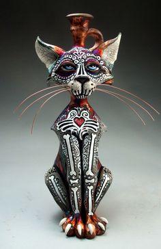 Day of the Dead Cat raku folk art sculpture pottery by face jug maker Grafton